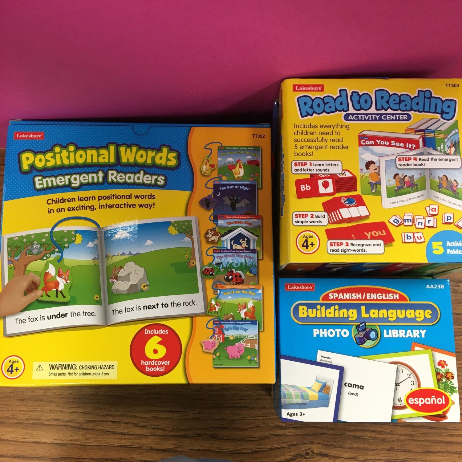 Positional Words for emergent readers, Road to Reading activity center, and Spanish/English photo library