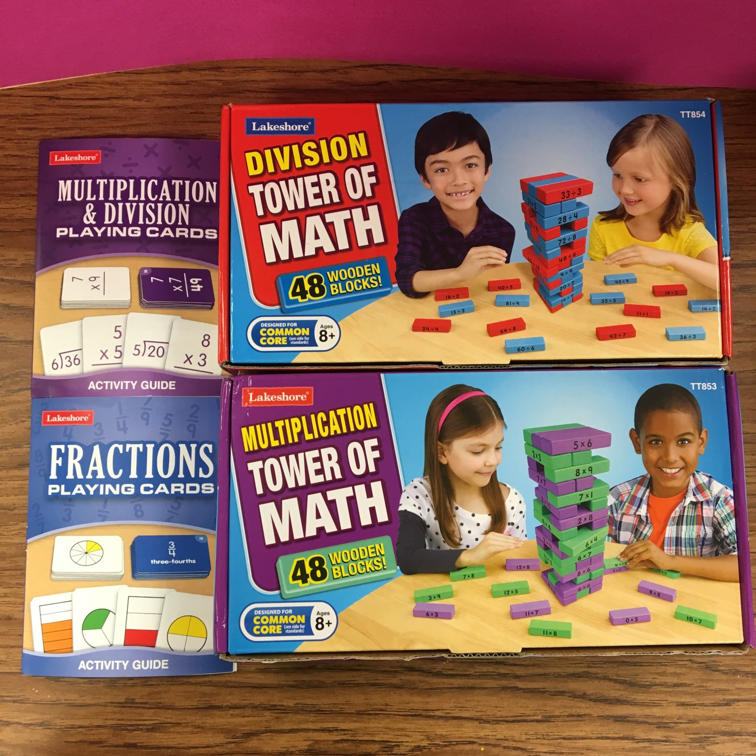 Multiplication and Division Tower of Math games and playing cards